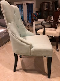 Light Blue Tufted Fabric Chair w/ Nail-heads