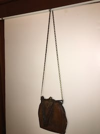 Purse with brass chain strap/ TURLOG tooled leather vintage SHAWNEEMISSION