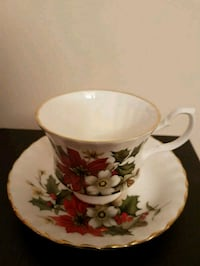 white and red floral ceramic mug Toronto, M2M 4B9