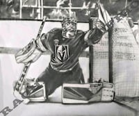 8x10 Hand Drawn Print of Marc-Andre Fleury of the Golden Knights VGK Las Vegas, 89118