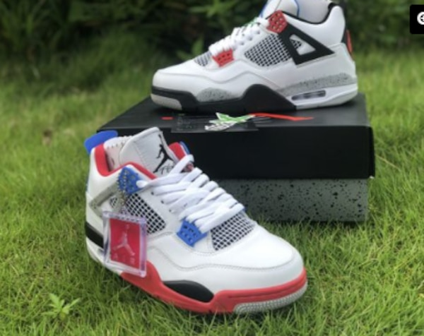 "sports shoes bba1b e76e4 2019 Air Jordan 4 ""What The"" White Fire Red-Tech Grey-Military Blue"