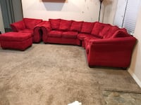 red suede sectional couch with throw pillows Joplin, 64804
