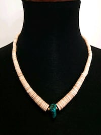 """20"""" Polished Clam Shell & Turquoise Necklace"""