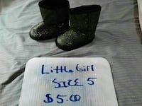 kid's pair of black-and-silver glittered boots