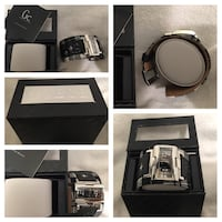 New Guess black and white monogram leather strap silver rectangular watch