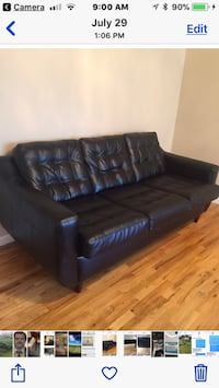 black leather pad 3-seat couch screenshot New York, 10011
