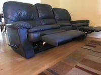 Leather couch (blue) - no tears or damage