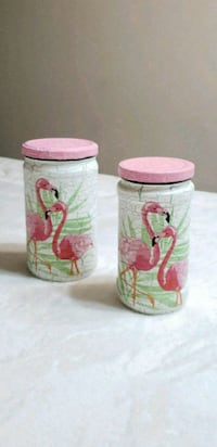 two pink-and-white glasses jars Middletown, 10940