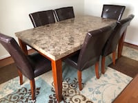 rectangular brown wooden table with six chairs dining set Laurel, 20724