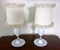Pair Mid Century Milk Glass Table Boudoir Lamps Kitchener, N2M 1X3