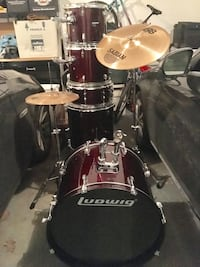 red and black ludwig drum set