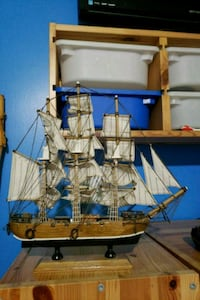 brown and white galleon ship scale model Salem County, 08072