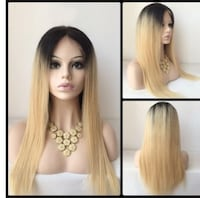Brown and blonde human hair wig