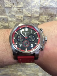 Red leather strap chronograph watch