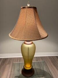 "Table Lamp with Glass Base (H 34""), Shade W 17"", Lamp Base W 8"""