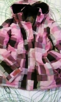 pink,purple,black,white and gray button-up hoodie