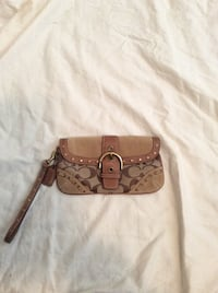 Coach brown soft leather & canvas wristlet. Used once! Greenwood, 46142