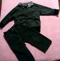 black long-sleeved with trousers and jeans
