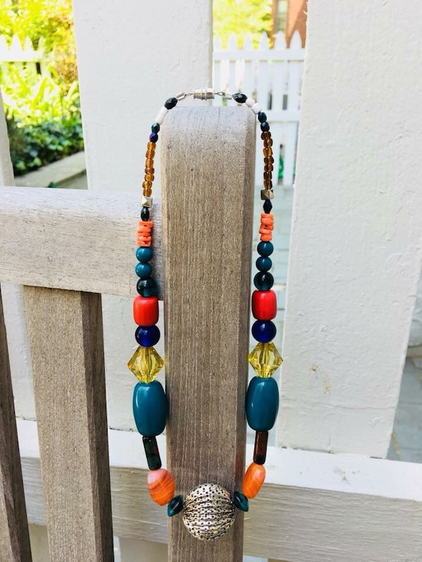 Brown and blue beaded necklace