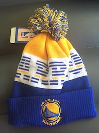 yellow and blue Golden State beanie