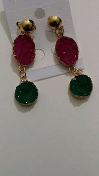 two red and green gemstone encrusted earrings Falls Church, 22041