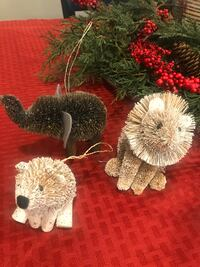 5 Animal Christmas tree ornaments. From Crate & barrel. Oxon Hill, 20745