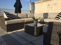 Handsome outdoor sectional couch with matching black cantilever umbrella Charlotte, 28203