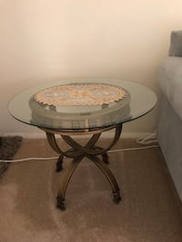 End Table with Glass Top and Copper/ Gold Iron Base Falls Church, 22042