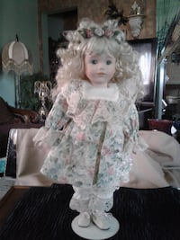 """NOW $20***18"""" Doll with Porcelain Face & Hands (Includes Stand) Hamilton"""