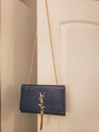navy blue snake print ysl purse