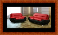Red/black sofa and loveseat 2pc set Bowie, 20720