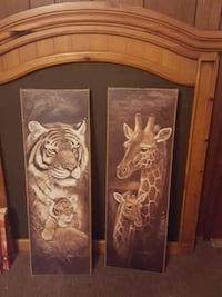 brown tiger and brown giraffe painting s