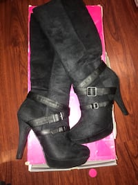 Pair of black suede 2-buckle heeled thigh-high boots 7.5 size normal wear.  Bellflower, 90706