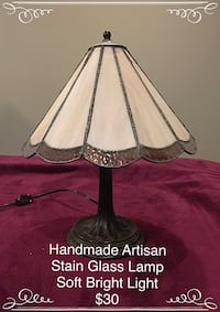 Handmade Artisan Stain Glass Lamp Lincoln, L0R