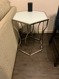 Davlin Hexagonal Metal Frosted-glass Accent End Table by iNSPIRE Q Bold Fairfax, 22030