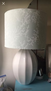 White and light gray/blue table lamp