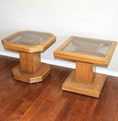 Glass top wooden end table set