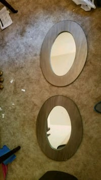 two round brown wooden framed mirrors Bethesda, 20814