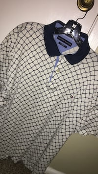 black and white Tommy Hilfiger polo shirt