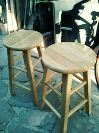 two brown wooden bar stools Canoga Park