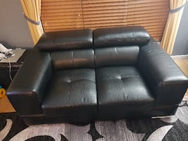Black Faux Leather Love Seat - Good Condition
