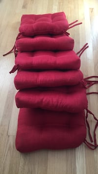 Chair cushions, tie back, red, very  nice! Watertown