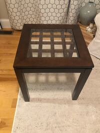 Wood side table with glass top Boston, 02127