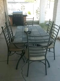 rectangular black metal table with six chairs dining set Glendale, 85304