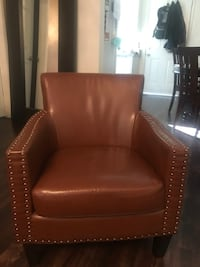 Brown leather nail studded chair Glendale, 91205