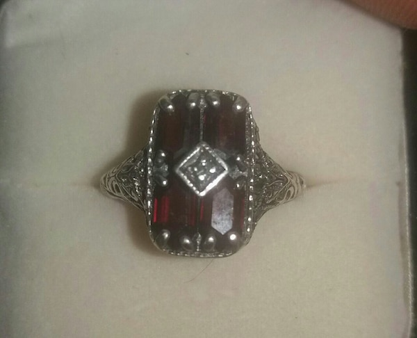 Antique sterling silver garnet diamond ring adjust