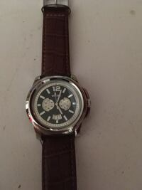 round silver chronograph watch with black leather strap Munfordville, 42765