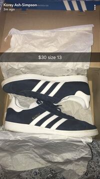 Adidas Gazelle sneakers. Size 13. 9/10 condition. Comes with originally box and paper stuffing. Fishers, 46037