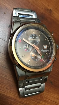 Round gold Kenneth and cole chronograph watch with link bracelet