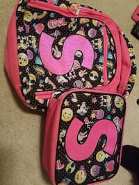 Pink and black s printed backpack and crossbody ba